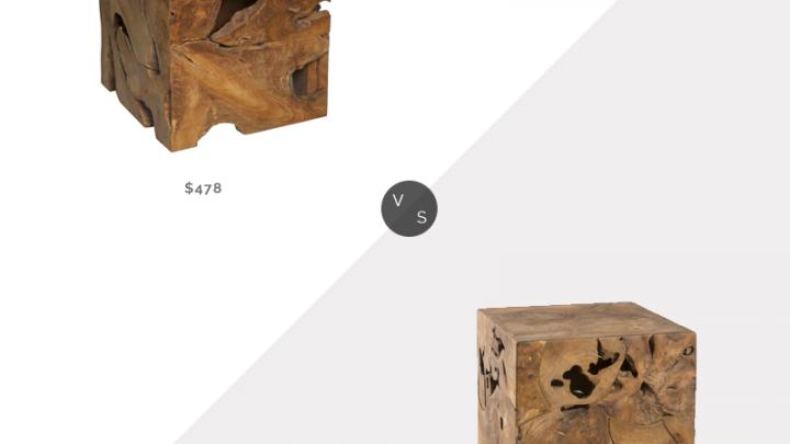 Recherche quotidienne | Kathy Kuo Rolando Rustic Lodge – Table d'appoint cubique en bois de teck