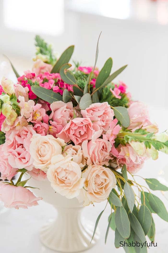Conseils simples pour l'organisation florale - Centre de table dégradé shabbyfufu
