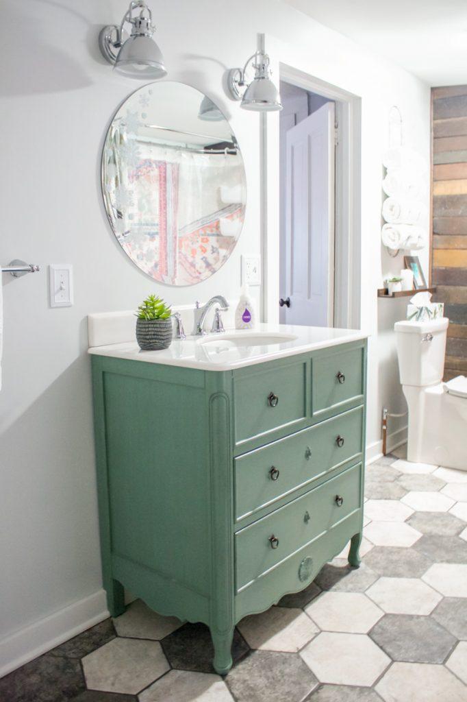 vanité de salle de bain bleu