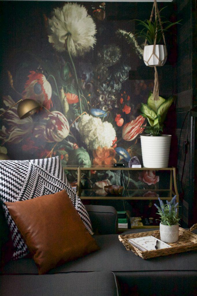 papier peint floral mural d'accent